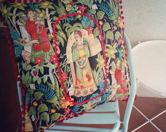 Giant Floor Cushion Frida Kahlo Extra Large Throw Pillow Euro Summer Tropical Mexican Colorful Quilted Artist Gift Colourful Bright Funky