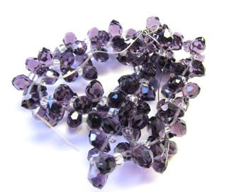 6 GLASS 5/7 MM AMETHYST FACETED DROPS