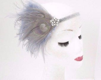 Grey White Silver Pearl Feather Headband 1920s Flapper Headpiece Gatsby Vtg 3878