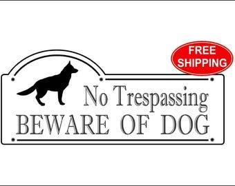 "German Shepherd, No Trespassing BEWARE OF DOG Sign 3 3/8"" x 7 7/8"" - Free Shipping"