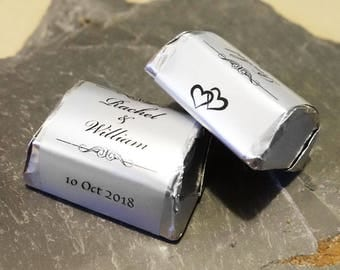 Silver Foil Personalised Wedding Candy Wrappers/stickers For Favors -Style B