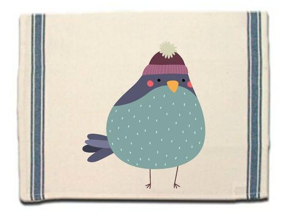 Bird in Knitted Cap Kitchen Towel, Dish Towel,Tea Towel,Flour Sack Material,Woodland Animals Dish Towels,Flour Sack Kitchen Towel,Dish Cloth