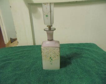Large Frosted BOHEMIAN CZECH Perfume Decanter w/Topper