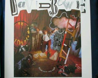 David Bowie Never Let Me Down flat slick Poster 2-Sided album Flat Square 1987 Promo vintage Ultra Rare NM David Bowie slick Bowie picture