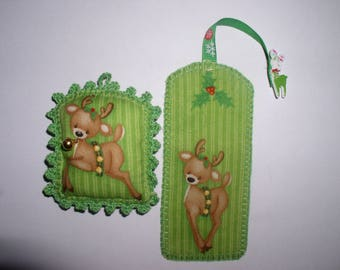 Bookmark and bells Christmas Reindeer pillow