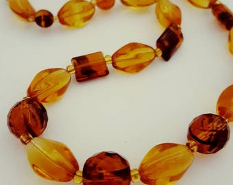 Vintage Amber Glass Bead Necklace Tortoiseshell Striped Glass Beaded Necklace 1950s Jewelry 1960s Jewellery uk