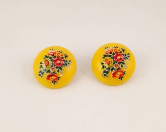 Yellow With Flowers Clip On Earrings