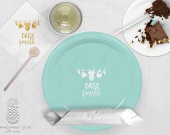 Clothesline Baby Shower   Customizable Plates, Napkins, Cups or Stir Stick   social graces Co