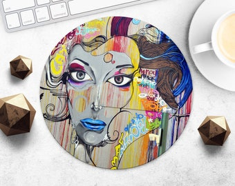 MousePad Graffiti Mouse Pad Street Art MouseMat Round MousePad Gift for Girl Print Mouse Mat Fabric Mice Desk Accessories Computer MousePad