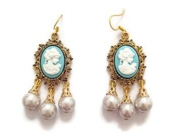 Gold Cameo Earrings - Cameo Dangle Earrings - Antique Cameo Earrings - Vintage Cameo Earrings - Gold Dangle Earrings - Vintage Gold Earrings