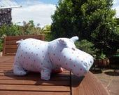 Hippo Soft Toy Handmade Polkadot Fabric Child Baby