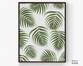 Palm Leaf Print Pattern, Tropical Botanical Fronds, Baby Shower, Nursery, Green, Greenery, Wall Art, Printable Digital Download