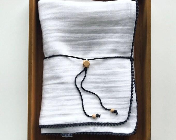 NomiLu Double Gauze Swaddle - Mulsin Pom Swaddles - Cotton Muslin Gauze Swaddle Blanket
