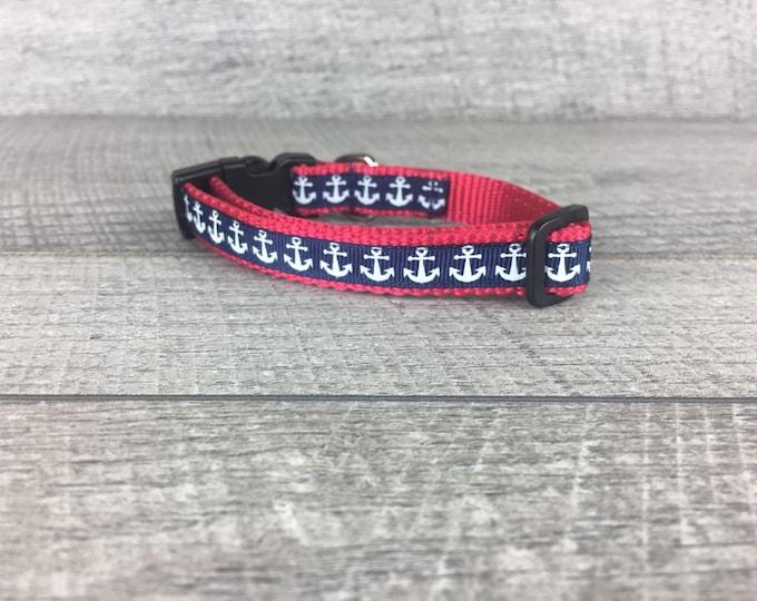 "The Rambo | Designer 1/2"" Width Dog Collar | Anchors | CupcakePups Collars | Small Dog Collar"