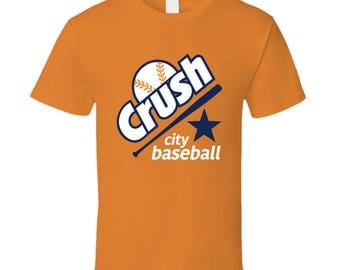 Crush City Baseball Houston Texas Graphic T Shirt V Neck Hoodie