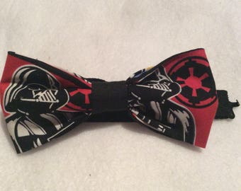 """Darth vader bow tie, Star Wars bow tie, handmade and pre-tied with 18"""" adjustable strap"""