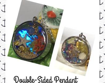 Resin Pendant, Ocean Diorama Pendant, Ocean Pendant, Sterling Silver, Resin Pendant, Resin Jewelry,Resin Jewellery.