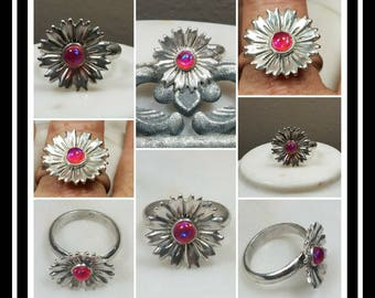 Artisan Sterling Silver Daisy Memorial Ash Ring /Cremation Ring/ Pet Memorial Jewelry/ Memorial Jewelry/Over 80 Color Options
