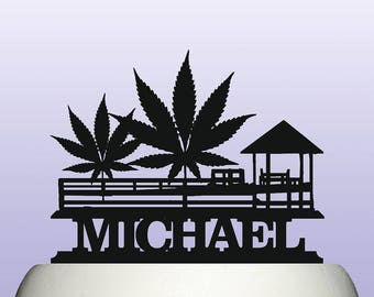Personalised Acrylic Cannabis Weed Indian Hemp Birthday Cake Topper