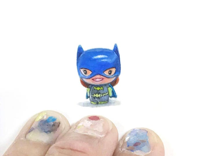 Print of miniature watercolor painting of batgirl.  giclee print of batgirl toy