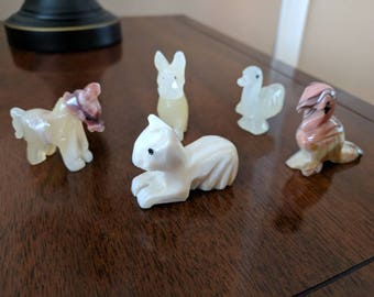 Set of 5 Vintage Carved Animal Figures