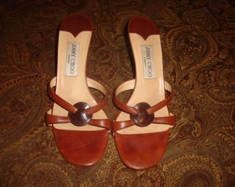 FINAL CLEARANCE Brown Leather Strappy Jimmy Choo Sandals 37/7M