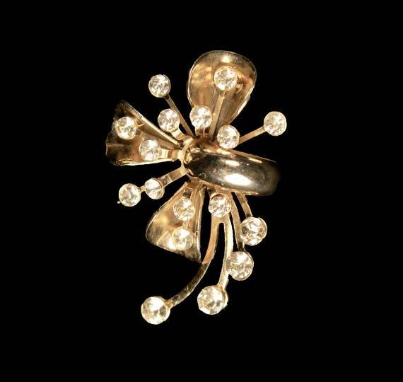 Pendant Brooch, Convertible Brooch, Clear Rhinestone, Gold Tone, C-Clasp Closure, Fashion Jewelry, Costume Jewelry