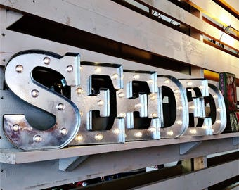 """Darice Vintage Style Galvanised Metal Marquee Light Up Letters - 25cms/ 9.87"""" - choose your letters!"""