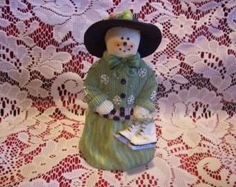 Plum Pudding Snowlady Figurine