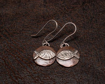 Copper and silver Jesus Fish earrings