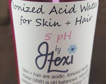 Ionized Acid Water, Beauty water, Acid Water, hair water, acid rinse, hydrating water, natural hair, twistouts, hair, pH balanced, 3 pH