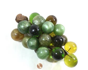Lucite Grapes Large Glass Grape Cluster Fake Faux Grapes Fruit Shades of Green Pearlescent Mid Century Eames Era Decor
