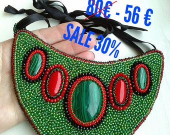 sale Necklace with malachite and coral