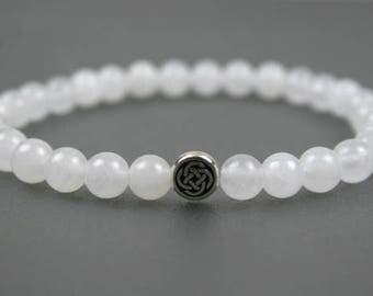 Snow quartz stacking stretch bracelet with antique silver plated Celtic circle bead, gratitude bead bracelet