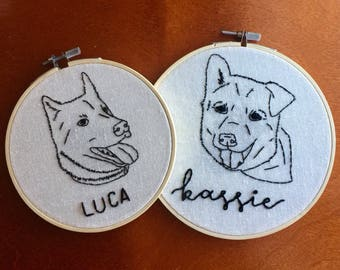 Pet Portrait | Embroidery Hoop