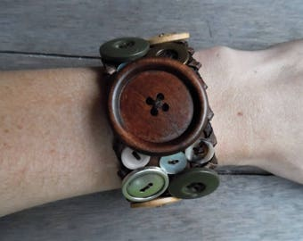 Brown Olive Patchwork Buttons Upcycled Leather Cuff Bracelet
