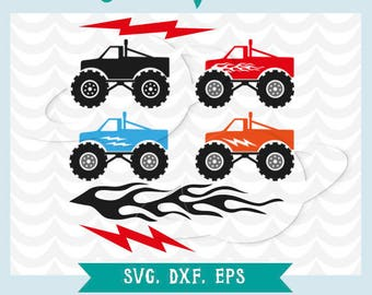 Monster Truck svg. Monster truck cuttable files. Monster truck dxf, png, eps. Monster truck vector. Fire svg. Flash svg. Clip art, transfer