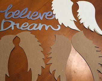 Die Cut Angel Wings, 4 Sets, 2 Styles Embellishments 2 Sets Chipboard, 2 Cardstock Dream and Believe in Soft Shimmer Colors