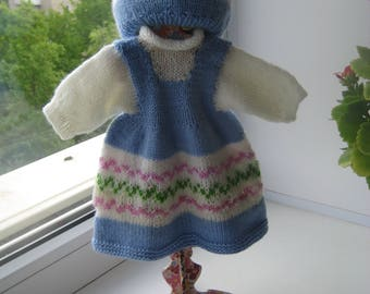 15-17 inch waldorf doll clothes dress, clothing set, hand knit Dress, hat, socks