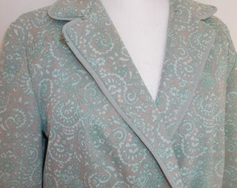 summer sale Vintage coat green 60s 70s paisley floral print coat jacket size large to XL extra large
