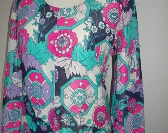 summer sale Vintage dress 70s floral maxi prairie dress  size large extra large
