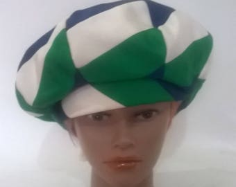 Vintage 60s 70s Bermona Model Made in England Emerald green white navy peaked hat beret