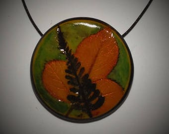 Prints of Strawberry, fern leaves necklace