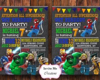 Lego Superhero Invitation, Lego Invite, Superhero Invite, Spiderman Invitation, Birthday Invitation, Superhero Thank You Card, Digital