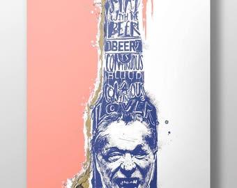 Charles Bukowski Illustration - High Quality A3 / A2 Print