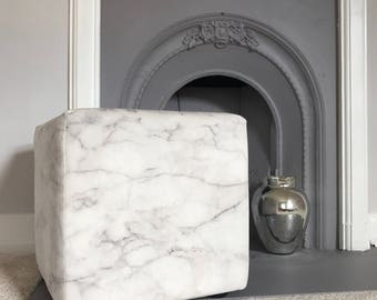 Marble Home Decor- Footstool- Pouf Ottoman- Upholstered Cube- Marble Cube- Ottoman- White Marble- Grey White- Velvet Footstool- Foot Stool
