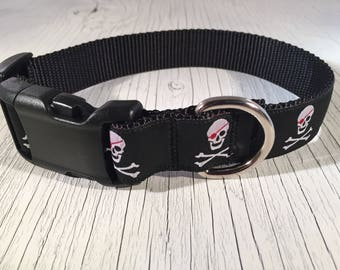 Jolly Roger Skull and Cross Bones with Eye Patch Dog Collar