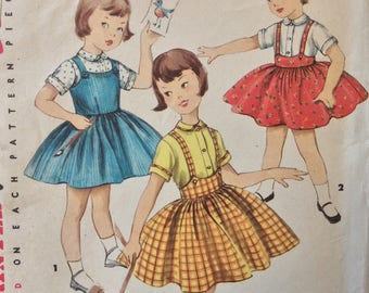 Simplicity 1702 girls jumper, skirt & blouse size 2 vintage 1950's sewing pattern  Uncut  Factory folds
