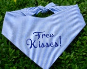 Free Kisses! Navy Blue Purple Seersucker Bandana || Preppy Tone on Tone Dog Pet Scarf || Puppy Gift by Three Spoiled Dogs