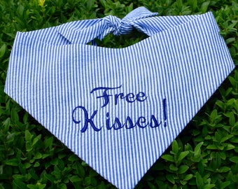 Free Kisses! Navy Blue Seersucker Bandana    Preppy Tone on Tone Dog Pet Scarf    Puppy Gift by Three Spoiled Dogs